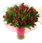 Buy choice grade red roses in a glass vase - Click to enlarge